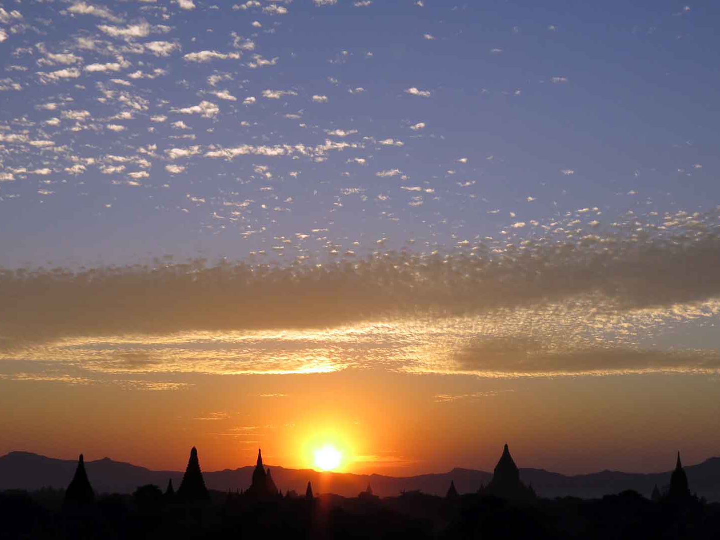 Silhouette of temples at sunset Bagan Myanmar