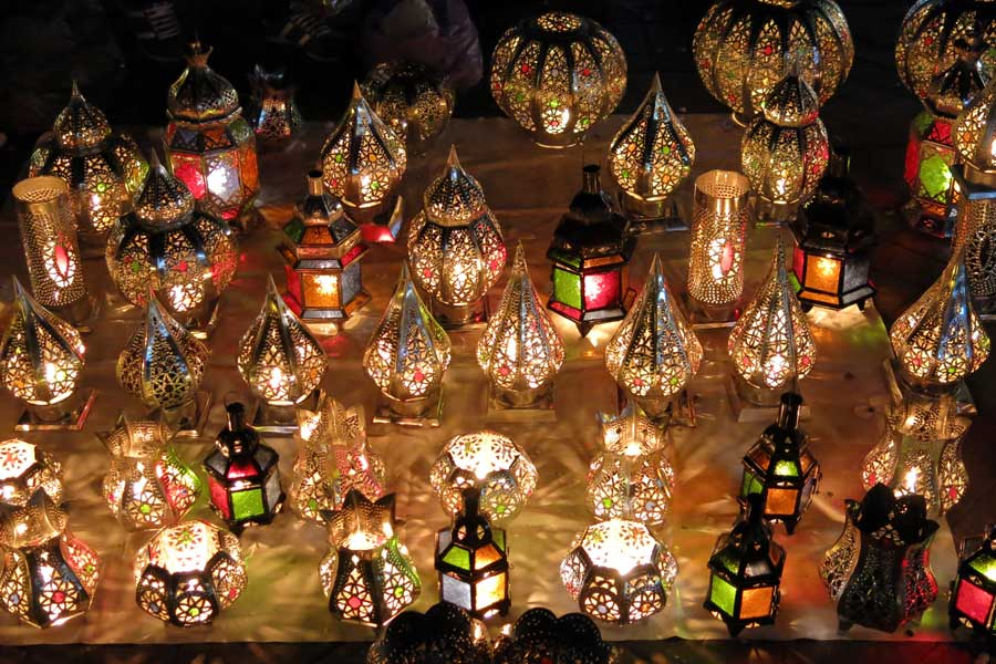 Lanterns in  the night markets of Djaama El Fna Square Marrakech