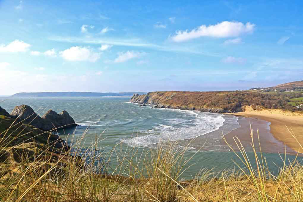 Overlooking Three Cliffs Bay from coastal path
