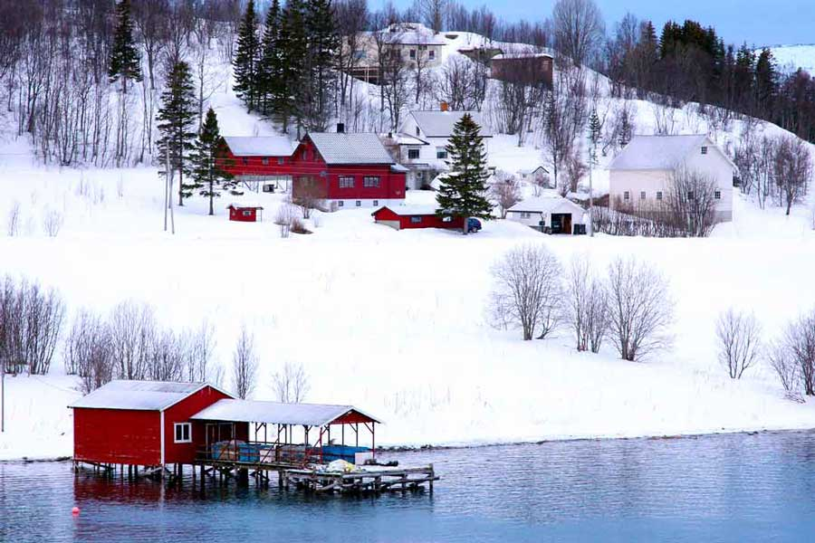 Red painted timber dwellings Norway