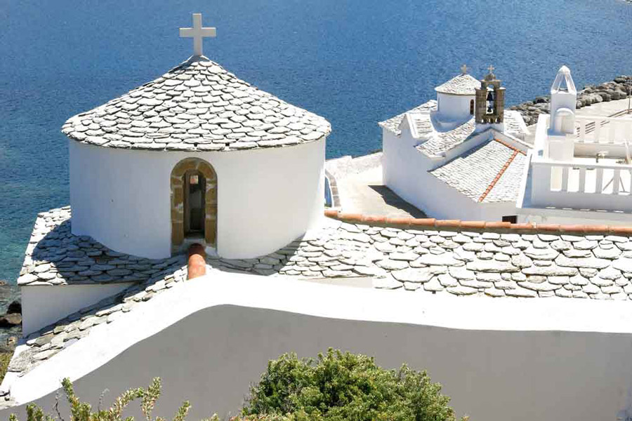 White washed church on the Island of Skopelos Greece