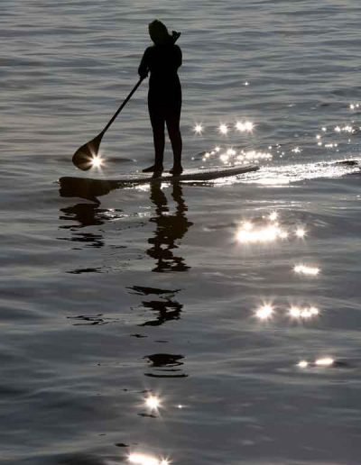 Morning paddle boarder