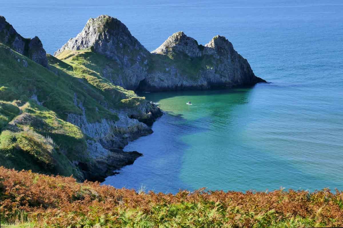 Deep blue sea at Three Cliffs Bay