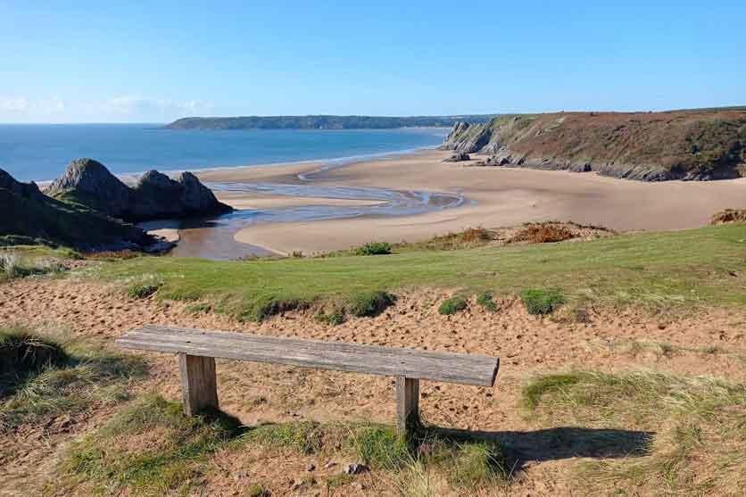 Bench overlooking Three Cliffs Bay