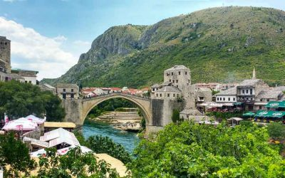 The town of Mostar in Bosnia and Heregovina
