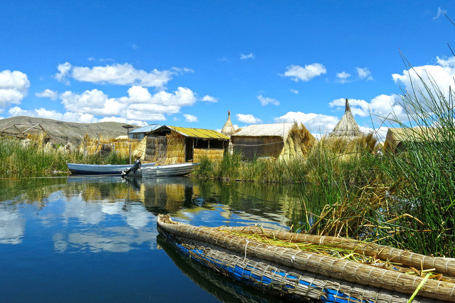Reed homes and canoes the floating islands of the Uros people Lake Titicaca