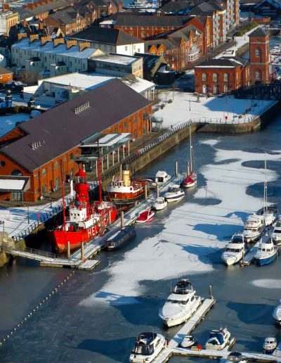 Swansea Marina in the snow