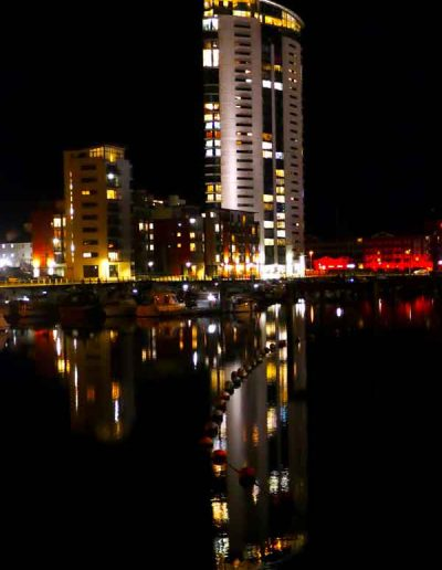 Swansea Marina after dark