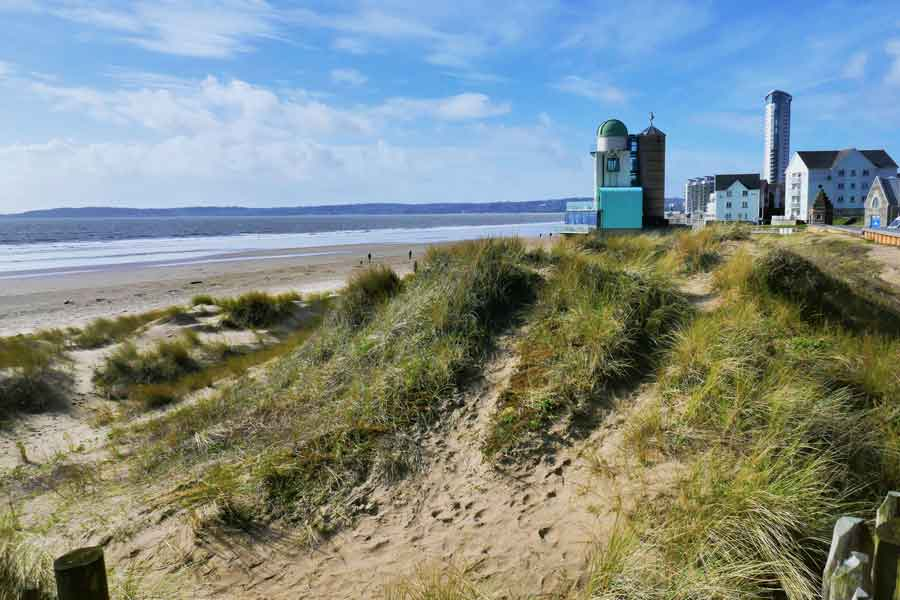 Swansea beach and Old Observatory