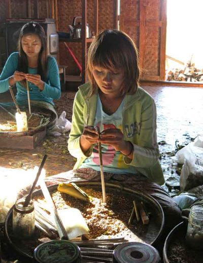 Young girls working Inle Lake Mynamar