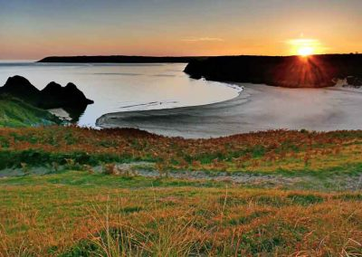 Three Cliffs Bay at Sunset